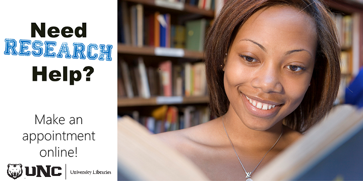 "Photo of smiling woman holding a book in a library. Caption says, ""Need research help? Schedule an appointment online!"""