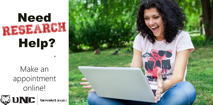 "Photo of smiling woman sitting outside on the grass holding a laptop. Caption says, ""Need research help? Schedule an appointment online!"""