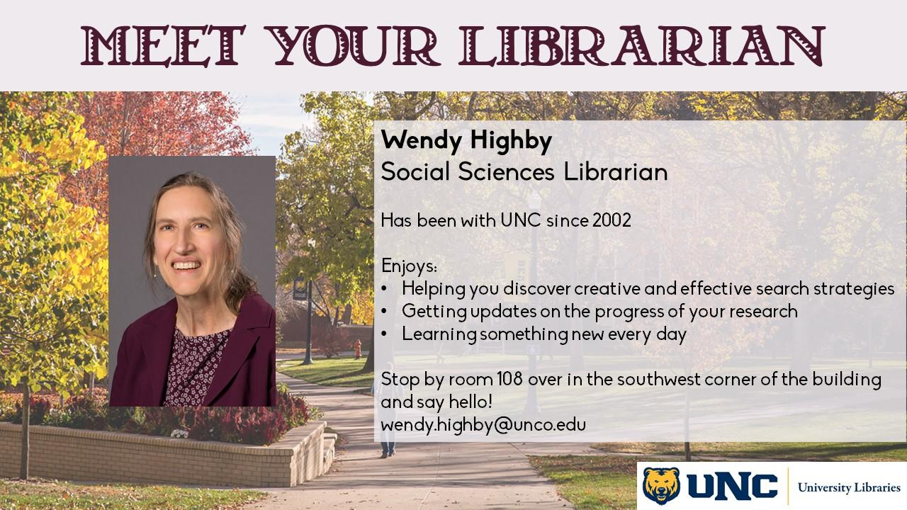 Photo and information about Wendy Highby, Social Sciences librarian