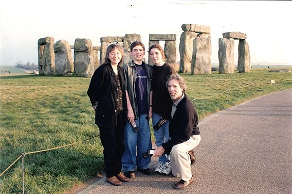 1999: Britain (Stonehenge) with Loney and the kids, Malcolm and Maggie