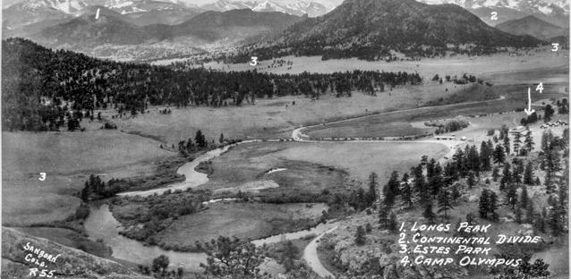 This panoramic view of the Rocky Mountains shows where Camp Olympus is situated in relation to Estes Park. Image from the collection of Bobbie Heistercamp.