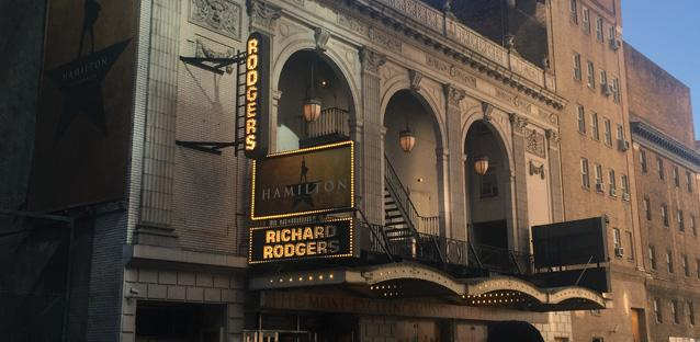 The Richard Rodgers Theatre, where Broadway hit Hamilton is showing. Photo by Theresa Kellar