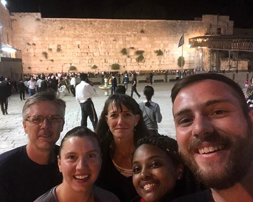 The team at the Western Wall Jerusalem