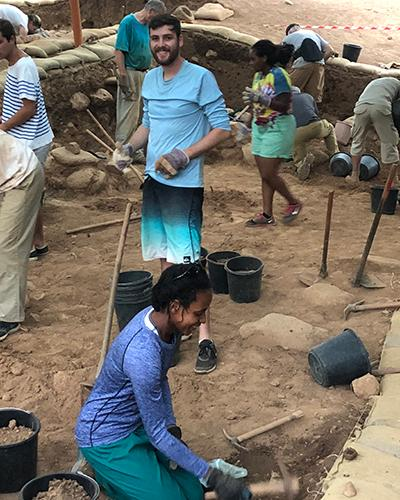 Larissa and Logan digging at Tel Dan