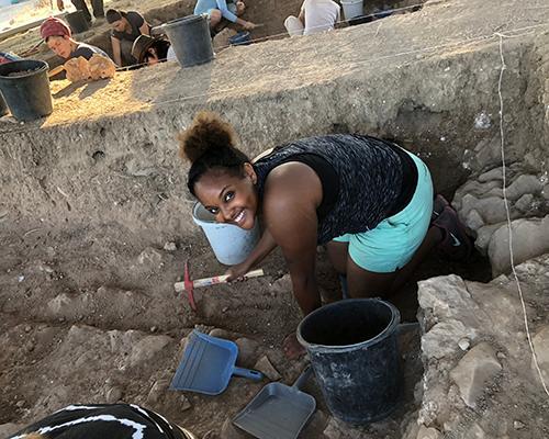 Betty digging at Tell es Safi