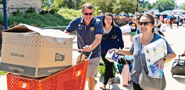 A hospitality expert, Andy helped with move-in day as students arrived on campus for Fall semester. Photo by Hunter Wilson