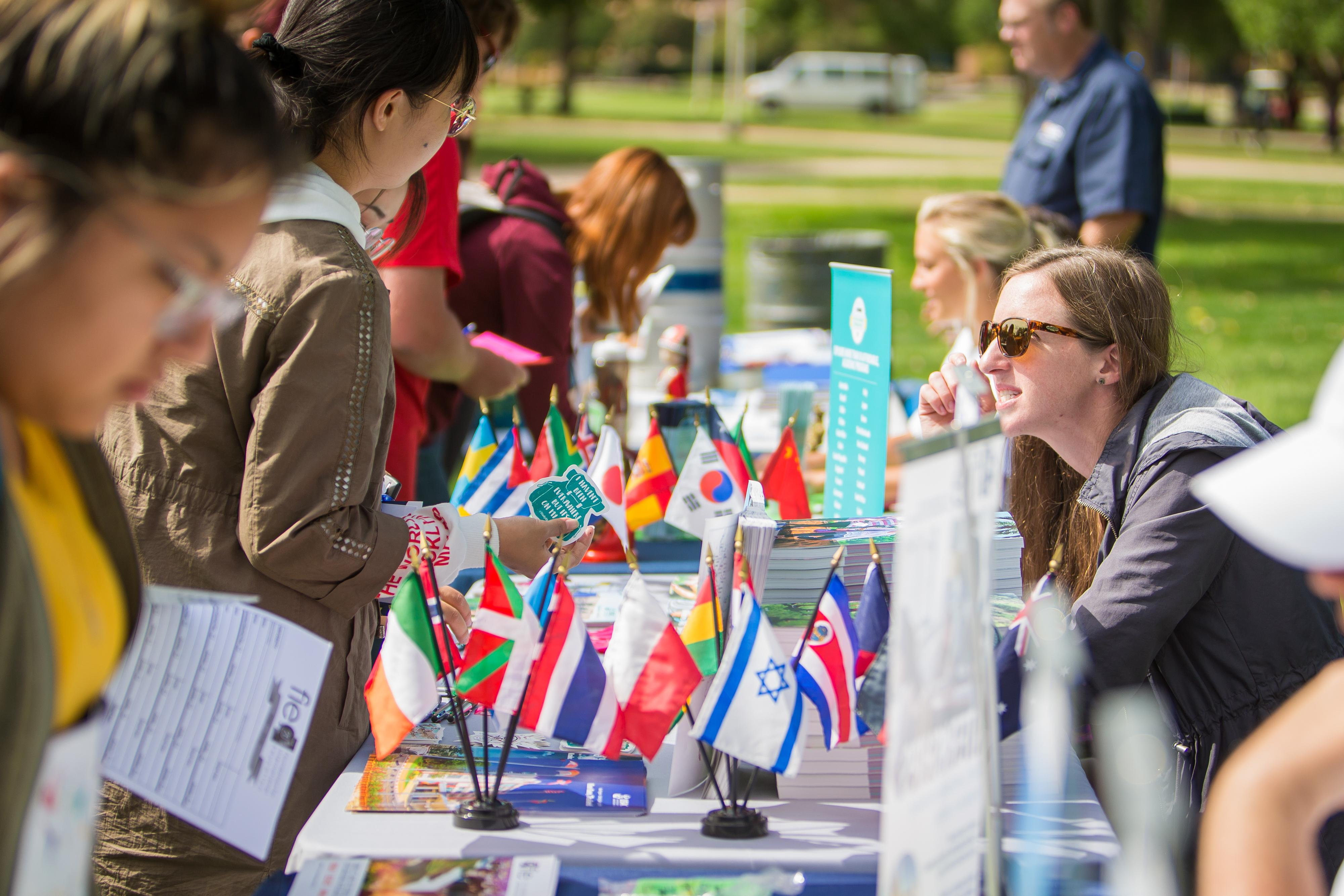 All the tables at the study abroad exchange/cultural fair