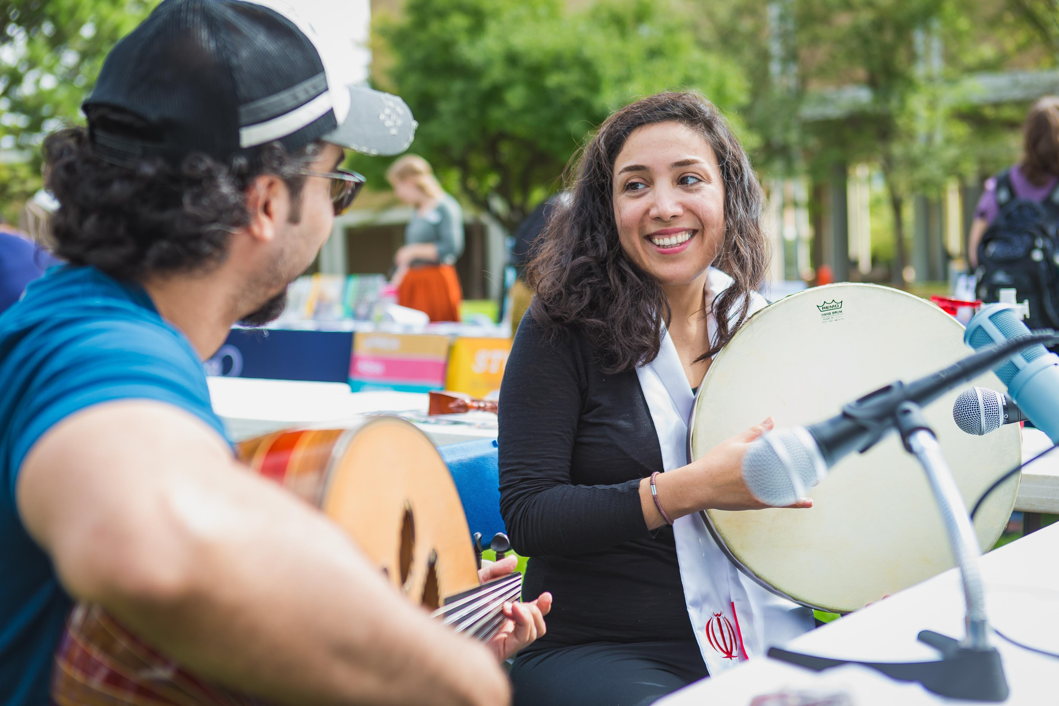 Students playing music at the fair