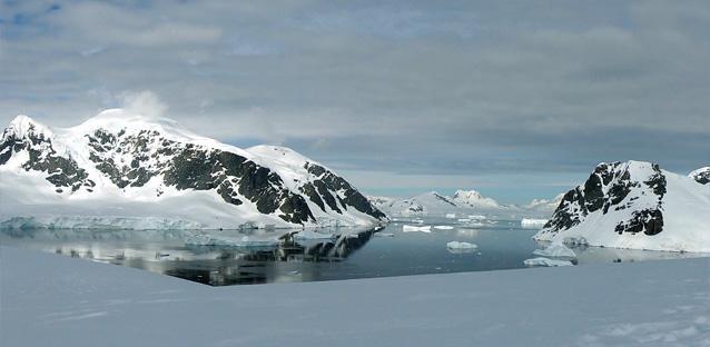 Antarctic mountains on Danco Island along the Antarctic Peninsula.