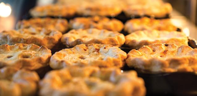 When pies are in the oven, Campus Commons is filled with the scent of the pastry. Photo by Woody Myers