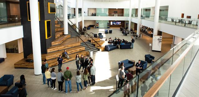 Campus tours will start at the Commons with plenty of gathering space in the light-filled lobby. Photo by Alex Nunley