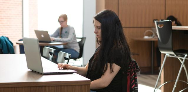 Students take advantage of study space in one of several open spaces on the second floor. Photo by Alex Nunley