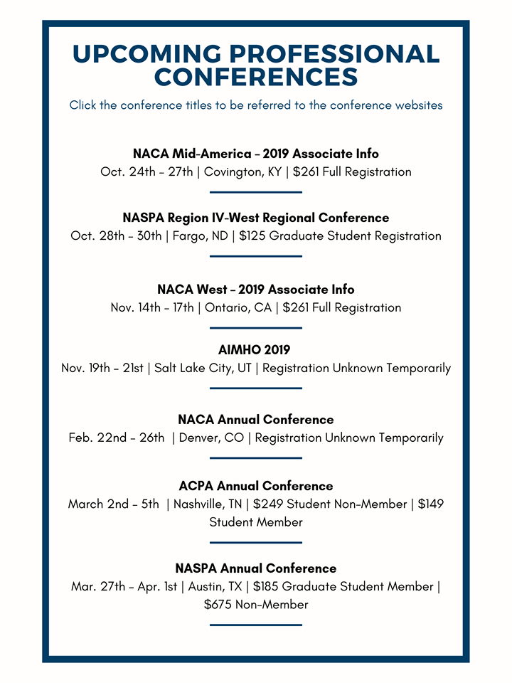 Interested in attending a conference this academic year? Check out these conferences happening!