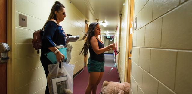 Over in Harrison Hall, where the majority of on-campus first-year students live, Sierra Beeching, 19, was just about settled in. Her parents, Rudy and Lisa Beeching, and older sister, Jordan Beeching traveled up from Spring, Texas, to help her move in as she starts at UNC.