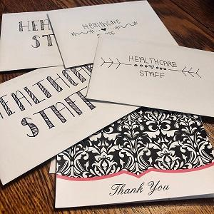 Cards written to thank healthcare staff during COVID-19 pandemic.