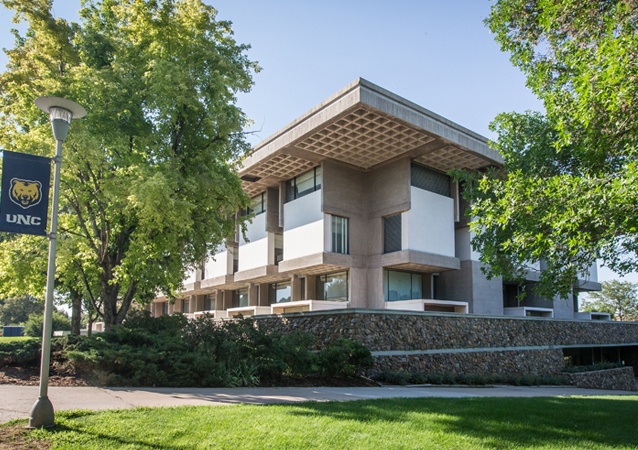 Completed in 1971, the University was renamed James A. Michener Library in 1973. Michener earned his master's in Education from then-Colorado State Teacher's College and also taught at the university. The library houses the James A. Michener Collection, which includes 900 linear feet of materials including Michener's research notes, manuscripts, galley proofs and correspondence, as well as field notebooks, maps, photographs and slides he collected while writing his novels.