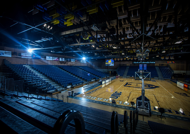 Completed in 1974, Butler-Hancock houses UNC intercollegiate athletic offices and facilities, with the 2,700 spectator capacity in Bank of Colorado Arena.