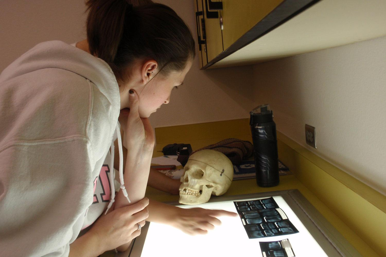 Forensic Anthropology student Nicole Arizmendi identifies a human skeleton by matching it to it's dental records.