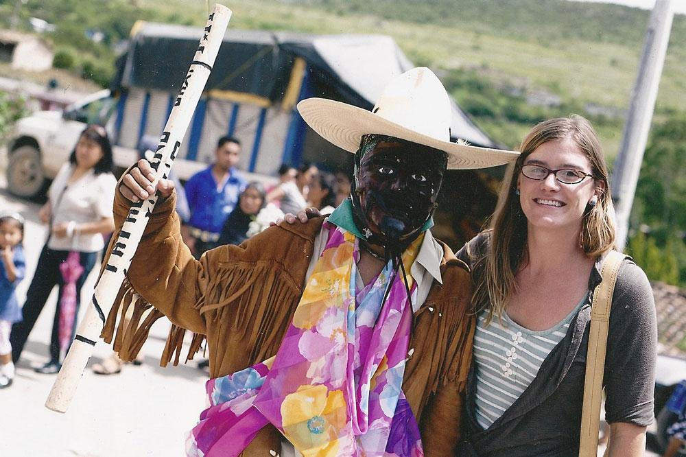 Professor Duncan with a masked dancer at a patron saint festival in San Miguel Tlacotepec, Oaxaca. Photo by Daniel Robles.