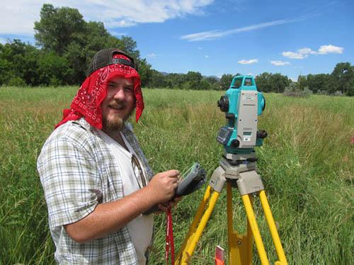 Total station work at the Camp Collins site: Jack Fuqua.