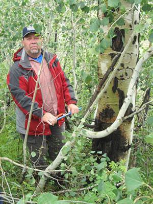 Dr. Doerner demonstrating tree coring in North Park.