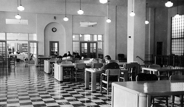 Interior of the original library, 1940, housed in Carter Hall