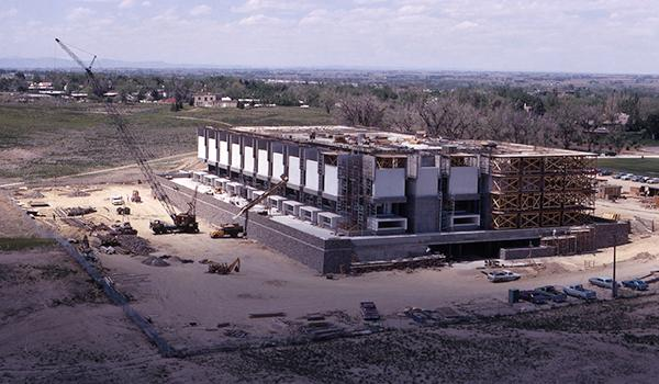 New library building under construction, 1971 (named Michener Library in 1973)