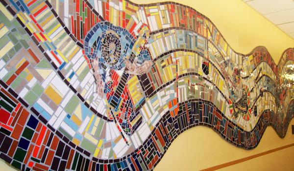 Skinner Library mosaic mural