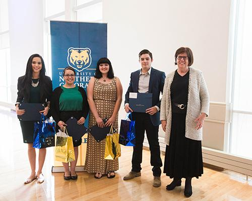 Spanish program student recognition award winners with faculty member Dr. Elizabeth Franklin