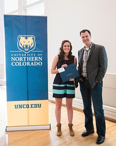 Undergraduate Research Award winner, Lauren McDonald, with faculty member Dr. Josh Packard