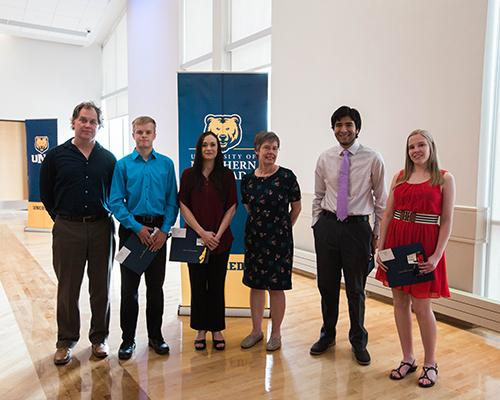 History program student recognition award winners with faculty members Dr. Robert Weis and Dr. Joan Clinefelter