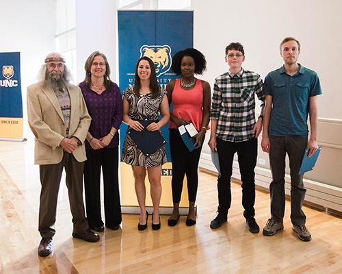 Philosophy program student recognition award winners with faculty members Tom Trelogan and Dr. Nancy Matchett