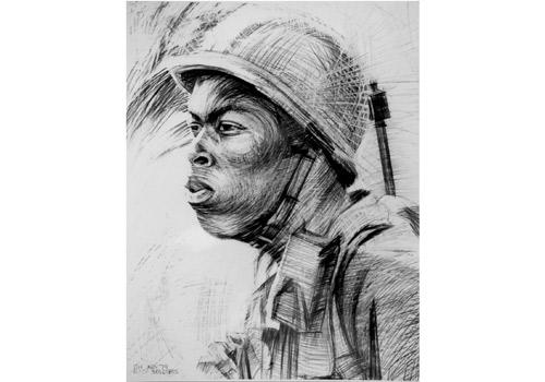 Soldier, 1979, drawing in pencil