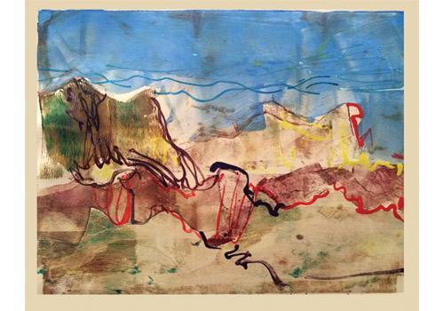 Devils Ridge Colorado, 2015, monotype in watercolor