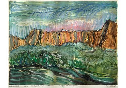 Green Colorado, 2015, monotype in watercolor