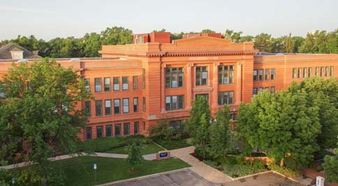 Aerial view of Kepner Hall from the South