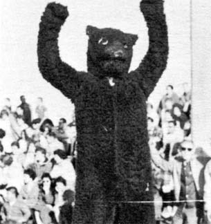 Early UNC Mascot with arms in air