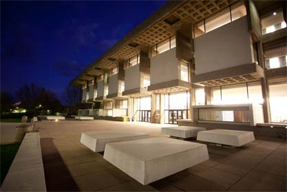 Michener Library at night