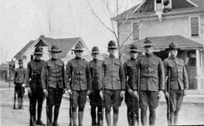 A line of men in the Student Army Training Corps