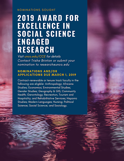 Flyer for 2019 Social Science Research Award nominations