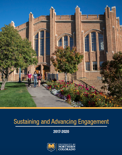 the cover of the office of engagement 2020 plan, which features an aerial photo of the UNC campus