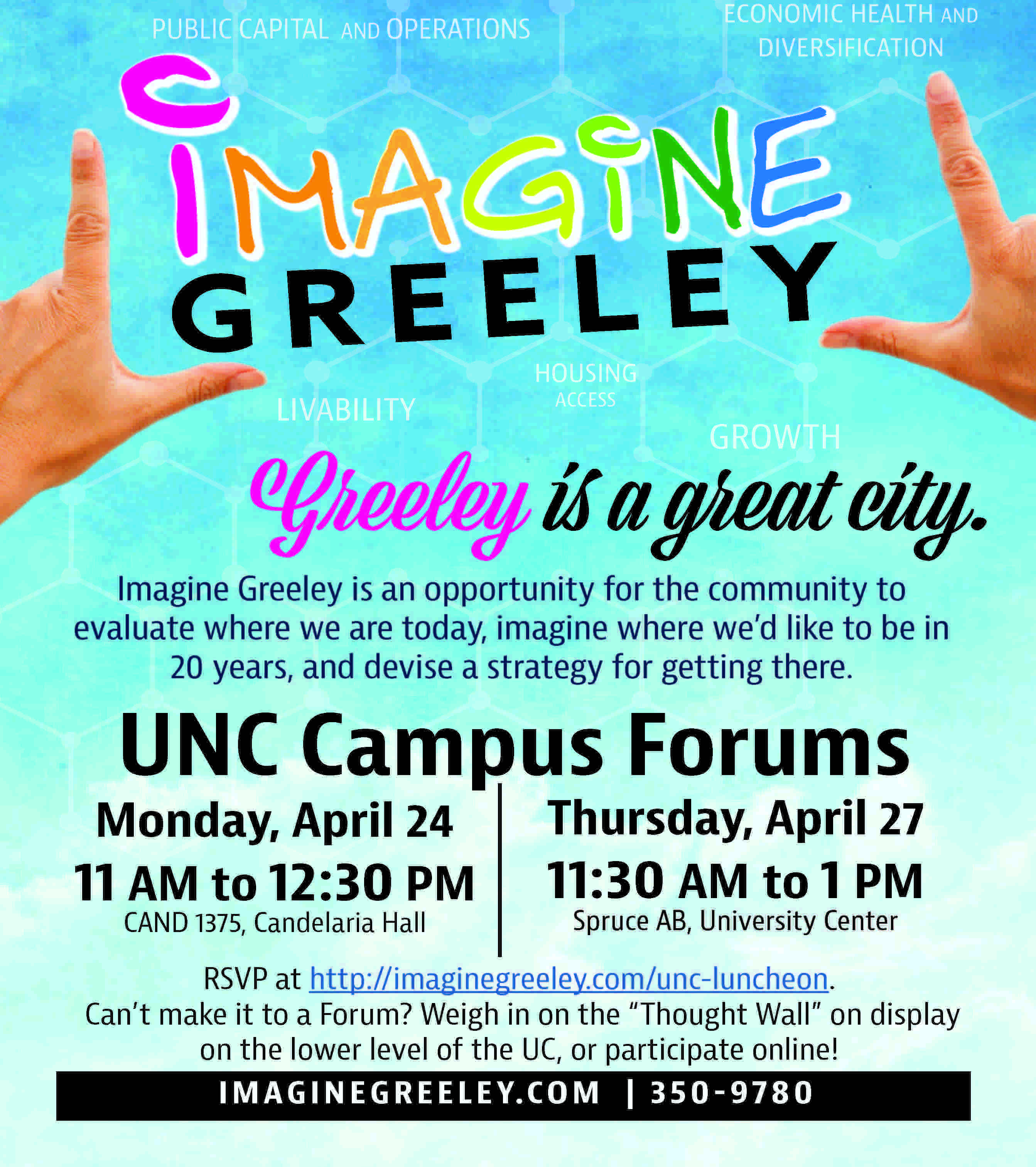 A colorful poster for imagine greeley events