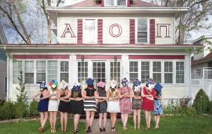 Alpha Omicron Pi Grads In Front of House