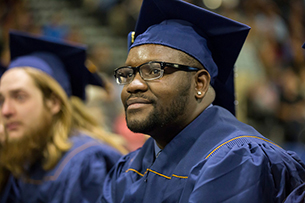 Male student at graduation ceremony