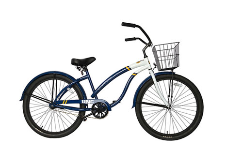 Blue cruiser bike that can be rented from Outdoor Pursuits free of cost