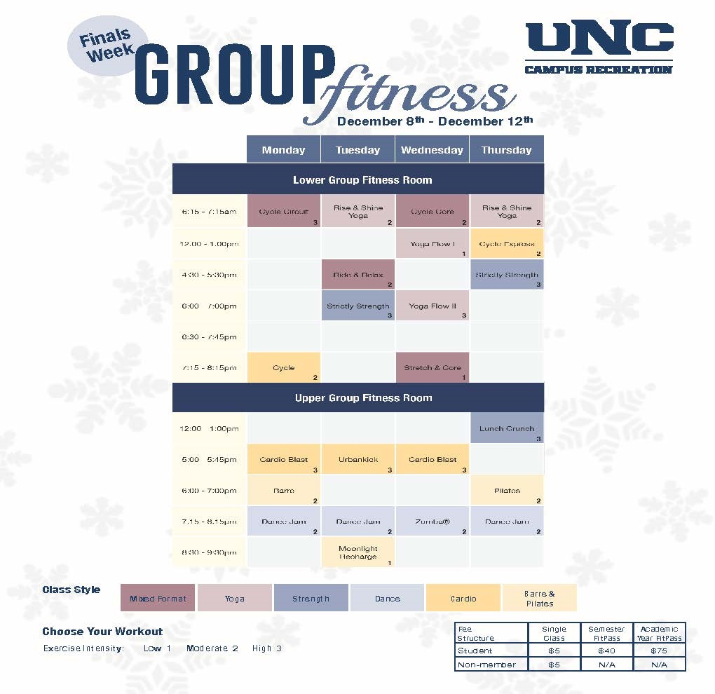 Fall 2019 Group Fitness Schedule