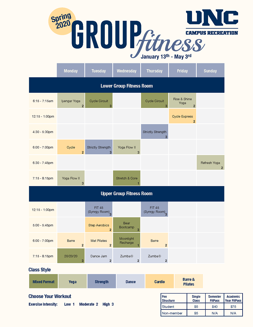 Group Fitness Spring 2020 Schedule
