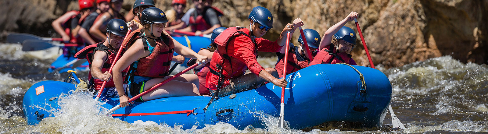 Outdoor Pursuits group white water rafting