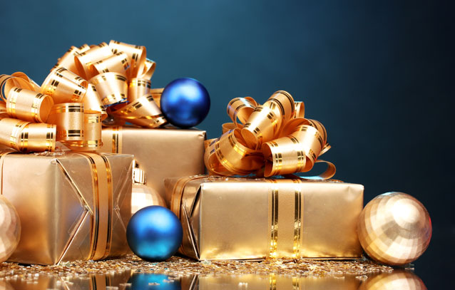 Blue and gold gifts and holiday ornaments