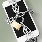 An iphone wrapped in chains